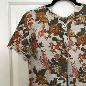 Vintage Floral Short Sleeve Sweatshirt